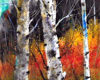 BIRCH TREES in Autumn Watercolor Print by Dean Crouser