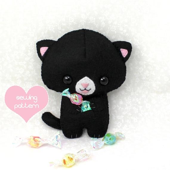 pdf sewing pattern halloween black cat stuffed animal easy. Black Bedroom Furniture Sets. Home Design Ideas