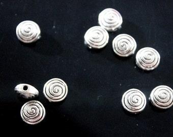 10 pcs - Silver Swirl Spiral Flat Round Charms - Silver Swirl Spiral Beads - Charms - Pendants Findings