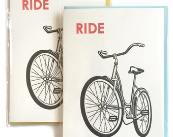 Ride Bike Card, Blank Note Cards, bike letterpress cards, Greeting Card, box of 6 greeting cards, bike lover gift, birthday cards, dad card