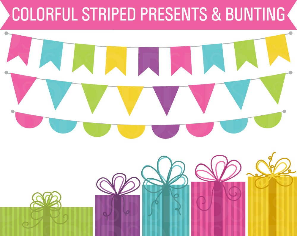 80 OFF SALE Birthday Clipart Clipart Presents Clipart Bunting