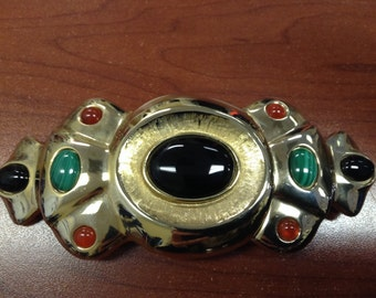 Salena's Collection Gemstone Malachite, Carnelian, Onyx Belt Buckle