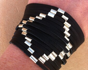 Leather Fringe Silver Beads Bracelet