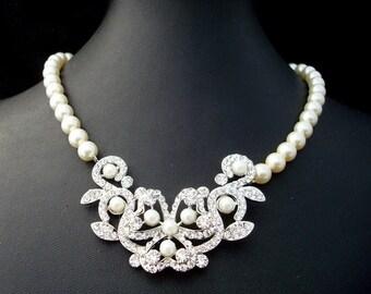 Pearl Necklace, crystal necklace,Swarovski Pearls Bridal Rhinestone Necklace, Statement Bridal Necklace, Wedding Rhinestone Necklace,  LINA