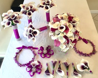 Customize Your Package, Calla Lily Bouquet, Purple Cally Lily Bouquet, Real Touch Calla Lily Bouquet, Brooch Bouquet, Cascading Bouquet, Whi