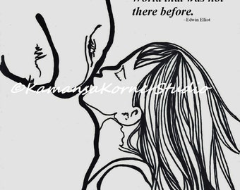 2 pages of a Girl and her Horse Two Coloring Page file set 1 Positive quote