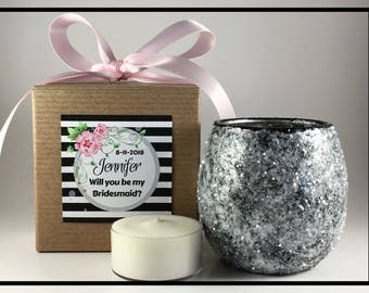 Will You Be My Bridesmaid Gift, Bridesmaid Proposal Gift, Unique Bridesmaid Gifts, Matron Maid Of Honor Proposal Gift Tealight Candle Holder