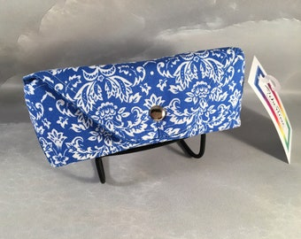White Floral on Bright Blue Handmade Eyeglass/Sunglass Case