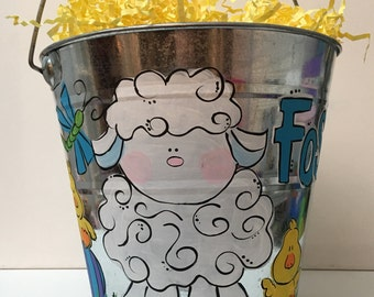 Personalizes Easter bucket | Easter basket | painted easter bucket | painted Easter basket |personalized Easter basket