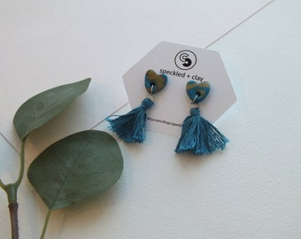 Teal and Gold Speckled Heart Earrings with Emerald Tassels