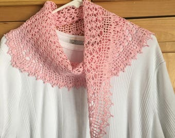 Pink crocheted lacy scarf