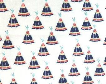 Japanese children Sevenberry fabric - Indian tents white background - 50 cm (110 x)