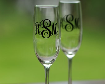 Monogrammed Wedding Toasting Flutes, champagne glasses personalized with wedding date for bride and groom