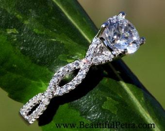 Diamond Engagement Ring - 1.25 carat Round - Pave - Antique Style - 14K white gold - Weddings- Luxury- Brides -BP004