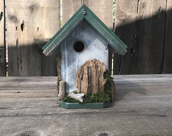 Birdhouse Handmade Recycled Wood Hand Painted Bird House White & Brown with White Washed Driftwood, Farmhouse Birdhouses, Item #610838999