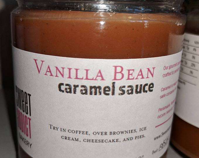 VANILLA BEAN Caramel Sauce - Great for fruit, coffee, ice cream and more - Make great gifts - CHRISTMAS, birthday, thank you, wedding
