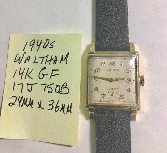 1940s Waltham Men's Wristwatch 17J 14k Gold Filled Case Running