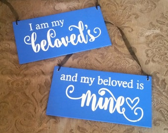 royal blue Bible Verse Sign/SET OF TWO/Wood Sign/Wedding Sign/I am my beloved's and my beloved's is mine/song of solomon 6:3/anniversary