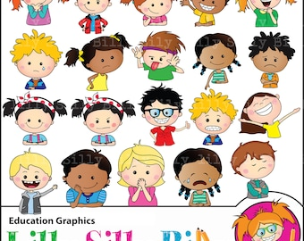 Clipart Emotions - Children's educational graphics. Images of assorted moods. Commercial use graphics in high quality png files.