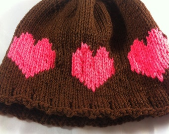 Clearance**** KIDS brown hearted hat hand knit