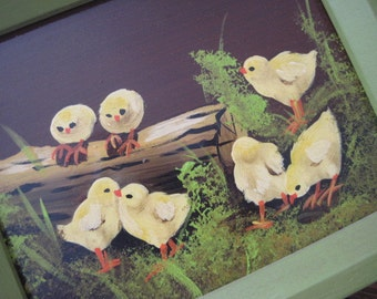 Vintage Small Oil Painting of Chicks on Board Signed Lak