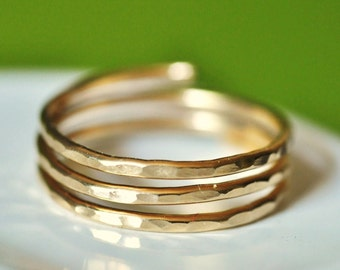 TRINITY (closed band)  Adjustable textured wire wrap Ring - 14K gold filled - wire wrap ring - custom sized- thumb ring