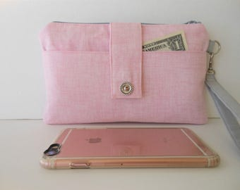 """Pink Canvas Smartphone Wallet, Wristlet, Clutch, Organizer, iPhone 7 Plus Wallet 9"""" x 5.5"""" (ready to ship)"""
