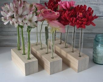 DIY Test Tube Vase, Unfinished wood, flower vase, Three Options, 3, 4, or 5 holes