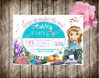 Mermaid Birthday Invitation *DIGITAL FILE ONLY*