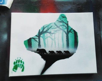 Bear themed spray paint art on canvas. Ideal gift idea