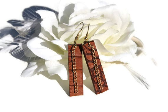 Leather dangle, drop earrings, long brown recycled leather earrings