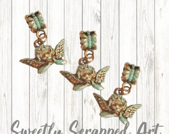 Angel Charms with Patina  /// Bail Charms / Vintage Look / Cherub / Cupid / Love / Scrapbooking / Jewelry Supplies / Bronze / Big Hole Charm