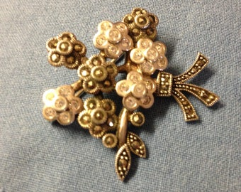 Sterling Marcasite & CZ Flower Brooch