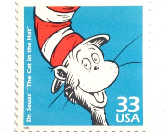Unused Cat in the Hat Postage Stamps // Dr. Seuss Children's Book Stamp for Mailing