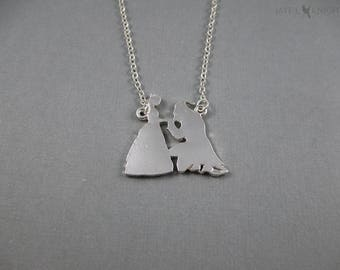 CLEARANCE - Beauty and the Beast Charm Necklace - Belle - Silver