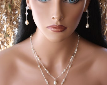 DOUBLE  STRAND  PEARL Necklace on Sterling Silver Chain with Swarovski Crystals, Bridal Necklace, Wedding Necklace, Special Occasion