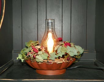 Lamp a Rustic Scalloped Shaped Light with Wood Buttons, Pip, Multi Colored Berries in a Ivy Wreath