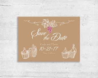 Save The Date - Vineyard Sketch Design - Wedding - Wine Grapes Marriage Ceremony - Winery Wedding - Personalized - Vineyard Napa Sonoma