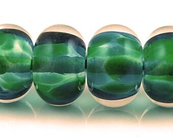 Lemuria Encased SRA Lampwork Handmade Artisan Glass Donut/Round Beads Made to Order Set of 6 10x15mm