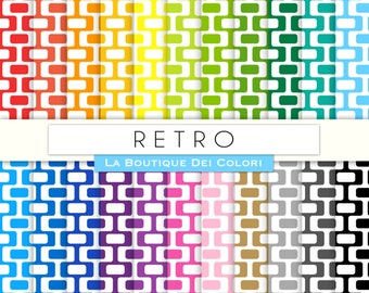 Scrapbooking Retro Digital Paper, all colors 60s Rainbow Printable Download for Personal and Commercial Use white backgrounds