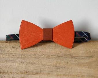 Orange leather bowtie