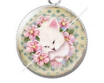 Cabochon 25mm 5 kitty cat pendant