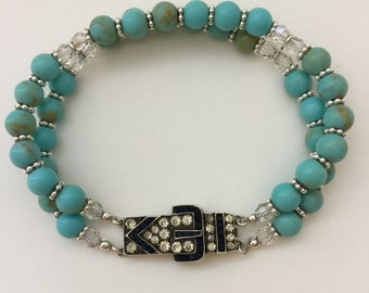 Turquoise and Crystal Beaded Bracelet with Vintage Sterling Silver Crystal Buckle Clasp