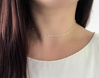 Sterling Silver Satellite Choker Necklace - Layering Necklace, Satellite Chain, Dainty Necklace, Minimalist Necklace