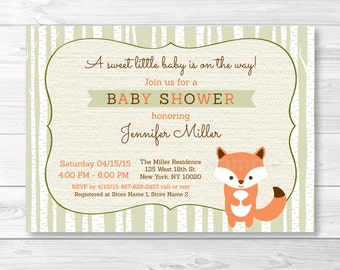 Cute Fox Baby Shower Invitation / Woodland Baby Shower Invite / Fox Baby Shower Invite / PRINTABLE A187