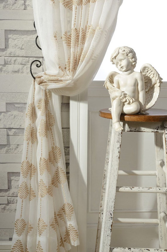 of pair curtains made soft gold white leaf embroidered rather sheer patterned pattern on order a to upto embroidey infinity l like fabric pin