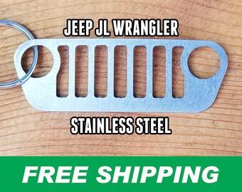 Jeep JL Wrangler Stainless Steel Grille Keychain, Jeep Keychain