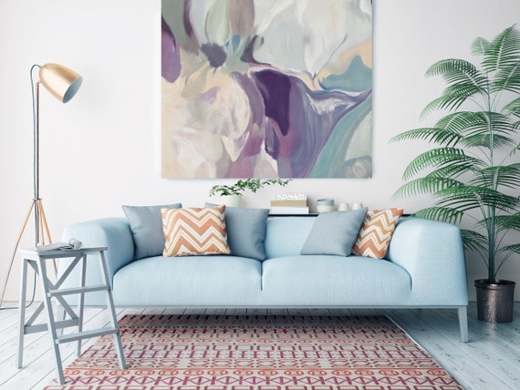 "Mixed Feelings, Huge Turquoise Purple Beige Gray Abstract Modern Canvas Art Print, Canvas Painting Print up to 50"" by Irena Orlov"