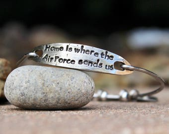 Home is Where the Air Force Sends Us, Air Force Jewelry, USAF, Military Family Jewelry, States Charm Bangle, States Charms USAF Military