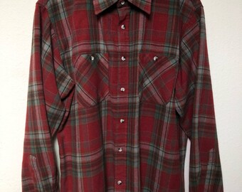 Vintage plaid flannel L XL, maroon brick red green plaid shirt, 90s flannel 1990s grunge vtg, John Blair, checked retro, men large oversized